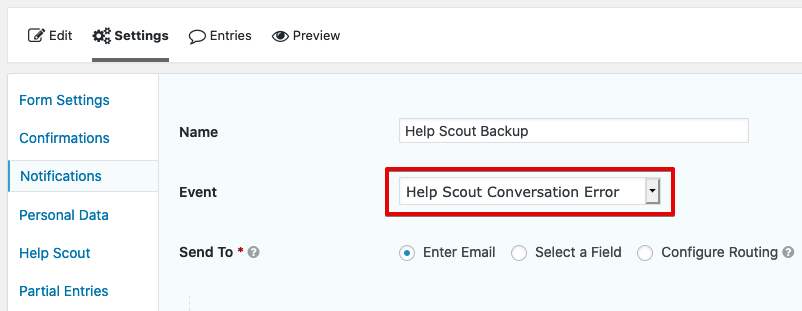 Programmatically Trigger Gravity Forms Notification on Help Scout Error